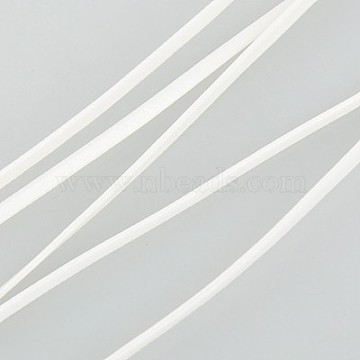 Imitation Leather Cord, Flat PU Leather, White, 2x1mm; 100yard/bundle(300 feet/bundle)(LC-K001-2mm-06)