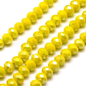 8mm Gold Abacus Electroplate Glass Beads