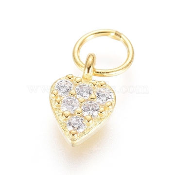 925 Sterling Silver Heart Charms, with Cubic Zirconia and Jump Rings, Clear, Golden, 6.5x4x1mm, Hole: 3mm(STER-G031-01G)