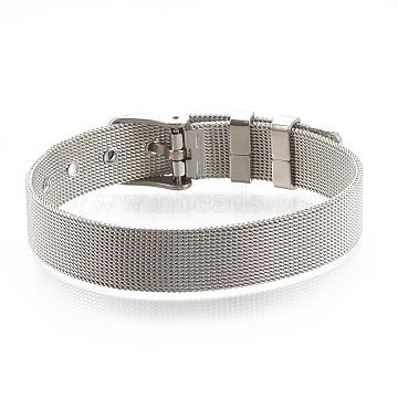 Brass Watch Bands, Platinum, 8-1/4inches(21cm)~9inches(23cm), 12mm(KK-N192-01P)