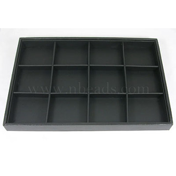 Stackable Wood Display Trays Covered By Black Leatherette, 12 Compartments, Black, 35x24x3cm(X-PCT106)