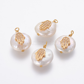 Natural Cultured Freshwater Pearl Pendants, with Brass Micro Pave Cubic Zirconia Findings, Nuggets with Hamsa Hand/Hand of Fatima/Hand of Miriam, Golden, Clear, 17~22x12~16x5~8mm, Hole: 1.8mm(X-PEAR-L027-19A)