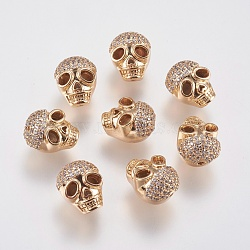 Brass Micro Pave Cubic Zirconia Beads, Skull, Real 18K Gold Plated, 11x9.5x9mm, Hole: 1mm(KK-A144-065G)