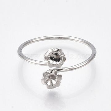 Brass Finger Ring Rhinestone Settings, Nickel Free, Real Platinum Plated, Fit for 2.5mm Rhinestone; Size 5~7, 15.5~17.5mm(KK-S350-409P)