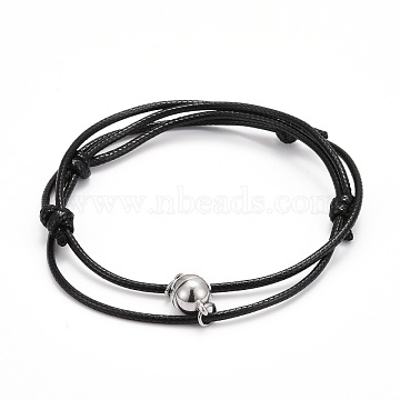 Adjustable Magnetic Bracelet for Couples, with Korean Waxed Polyester Cord and Alloy Magnectic Clasps, Black, Inner Diameter: 2~3-1/8 inch(6.35~7.95cm), 2pcs/set(BJEW-JB06190-01)