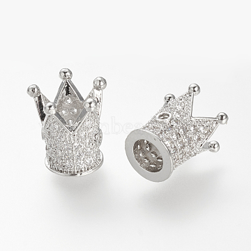 12mm Crown Brass+Cubic Zirconia Beads