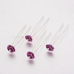 (vente de clôture défectueuse), fourches de cheveux de dame, avec des résultats de fer de couleur argentée et strass, fleur, cristal ab, pourpre, 74 mm(PHAR-XCP0001-A01)