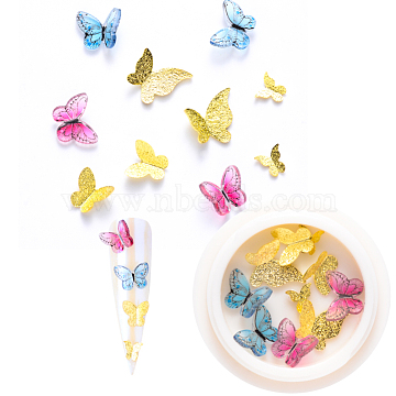 Nail Art Decoration Accessories, with Resin & Golden Tone Brass Cabochons, Butterfly, Golden, 5~10.5x5.5~10.5x1~3.5mm, 10pcs/box(X-MRMJ-Q087-005G)