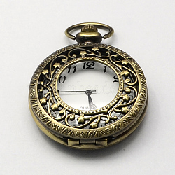 Vintage Hollow Flat Round Zinc Alloy Quartz Watch Heads for Pocket Watch Pendant Necklace Making, Antique Bronze, 59x46x14~16mm, Hole: 16x4mm(WACH-R005-40)