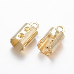 Латунные складные обжимы, золотые, 11x5 мм, отверстие : 1 мм(KK-F371-83G)