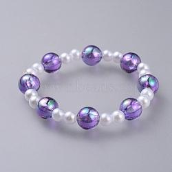 acrylique transparent imité perles extensibles enfants bracelets, avec des perles transparentes en acrylique, arrondir, pourpre, 1-7 / 8 (4.7 cm)(BJEW-JB04575-04)