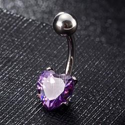 piercing bijoux, anneau de nombril de zircon cubique en laiton environnemental, anneaux de ventre, avec les résultats en acier inoxydable, cœur, platine, pourpre, 20x8 mm; broches: 1.5 mm(AJEW-EE0006-25D)