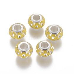 perles européennes en résine imprimée, avec strass et noyaux plaqués couleur argent laiton, grandes perles de trou, rondelle, jaune, 11.5~12x7.5~8 mm, trou: 5 mm(RESI-F018-A06)