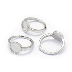 925 фунт стерлингового серебра, плоско-круглые, Размер 7, Реальная платина, лоток : 9 мм; 17 мм(STER-E061-01D-P)