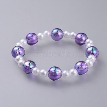 Transparent Acrylic Imitated Pearl  Stretch Kids Bracelets, with Transparent Acrylic Beads, Round, Purple, 1-7/8 inches(4.7cm)(BJEW-JB04575-04)