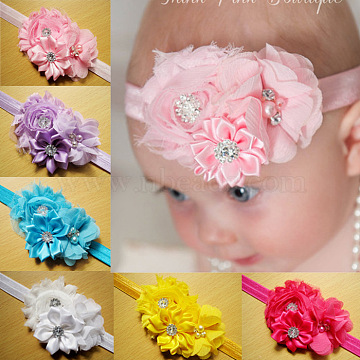 Elastic Child Headbands for Girls, Hair Accessories, with Lace Flower and ABS Imitation Pearl, Handsewn, Mixed Color, 34~36cm(OHAR-R278-02)