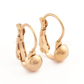 304 Stainless Steel Leverback Earrings, Half Round, Golden, 15.5x11mm; Half Round: 6mm; Pin: 0.7mm; 12pairs/board(EJEW-L232-038A-G)