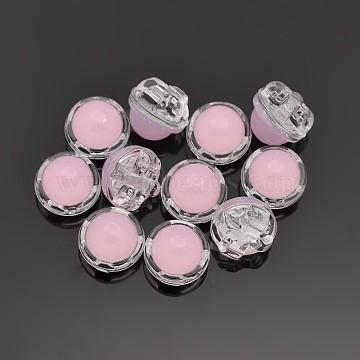Sew on Taiwan Acrylic, Multi-strand Links, Garment Accessories, Half Round, Pink, 12x8mm, Hole: 1mm(X-SA08-9-AC-H22)