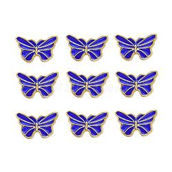 Perles en émail d'alliage de style chinois, papillon, or, bleu, 9.5x15.5x4mm, Trou: 1.6mm(X-ENAM-L015-16B-G)