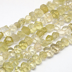 Natural Lemon Quartz Beads Strands, Faceted, Drum, 14~16x10~12x10~13mm, Hole: 1mm; about 37pcs/strand, 15.7inches