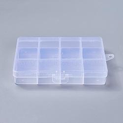 Conteneurs de stockage de perles en plastique, stationnaires 12 compartiments, rectangle, clair, 13x10x2.2 cm, trou: 0.5 cm(X-CON-R008-03)