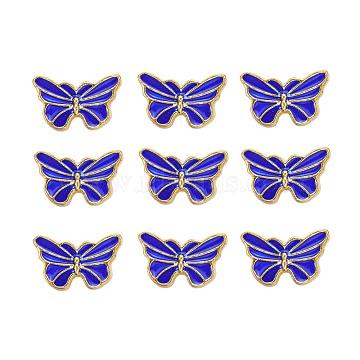 Golden Blue Butterfly Alloy+Enamel Beads