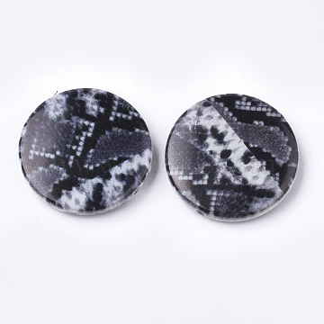 Printed Acrylic Beads, Flat Round, SlateGray, 25x5.5mm, Hole: 1.8mm; about 215pcs/500g(OACR-S022-14E)