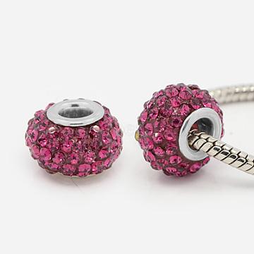 Resin Rhinestone European Beads, Large Hole Beads, Rondelle, Platinum Metal Color, Fuchsia, 15x10mm, Hole: 5mm(X-MPDL-J018-05P)
