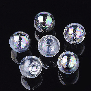 Round Handmade Blown Glass Globe Ball Bottles, for Glass Vial Pendants Making, Clear AB, 25x24.5mm, Half Hole: 5mm(X-BLOW-R002-25mm-AB)