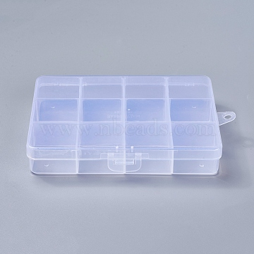 Plastic Bead Storage Containers, Stationary 12 Compartments, Rectangle, Clear, 13x10x2.2cm, Hole: 0.5cm(X-CON-R008-03)
