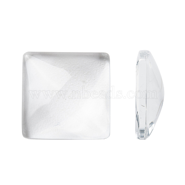 15mm Clear Square Glass Cabochons