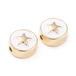 Brass Enamel Beads, Long-Lasting Plated, Flat Round with Star, White, Real 18K Gold Plated, 11x5mm, Hole: 1.8mm(X-KK-F814-03G)