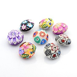 Alliage argile polymère boutons strass motif fleur bijoux snap, demi dôme rond, Sans cadmium & sans nickel & sans plomb, platine, couleur mixte, 20x13~17 mm; bouton: 5.5 mm(X-SNAP-O016-M)