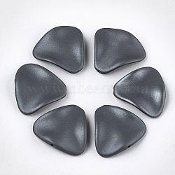 perles acryliques de style caoutchoutées, vague, triangle, slategray, 24x26x5.5 mm, trou: 1.5 mm(MACR-T026-18C)