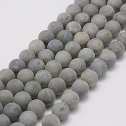 Natural Labradorite Beads Strands, Frosted, Round, 6mm, Hole: 1mm; about 67pcs/strand, 15.3inches(39cm)