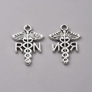 Tibetan Style Alloy Pendants, Caduceus, Antique Silver, 20.5x15x1.5mm, Hole: 2mm(X-TIBEP-WH0002-16AS)