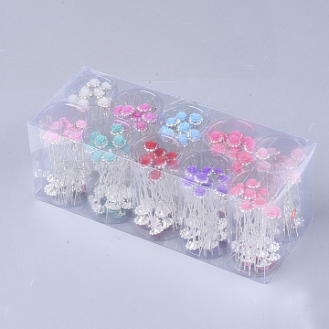 Iron Hair Forks, with Rhinestone and Resin, Flower, Mixed Color, 71mm; about 200pcs/box(OHAR-S200-07-B)