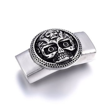304 Stainless Steel Slide Charms Rhinestone Settings, Rectangle with Skull, Antique Silver, Fit for 2mm rhinestone, 39x25x15mm, Hole: 7x13mm; (STAS-F179-51AS)