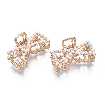 Alloy Claw Hair Clips, with ABS Plastic Imitation Pearl, Bowknot, Light Gold, White, 50x32.5x27.5mm(PHAR-T001-10LG)