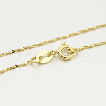 Sterling Silver Chain Necklaces, with Spring Ring Clasps, Thin Chain, Golden, 18 inches, 0.8mm(X-STER-M086-05B-G)
