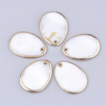 Electroplate Freshwater Shell Pendants, Oval, Light Gold, 24~24.5x18x1.5mm, Hole: 1.2mm(X-SHEL-T012-16)