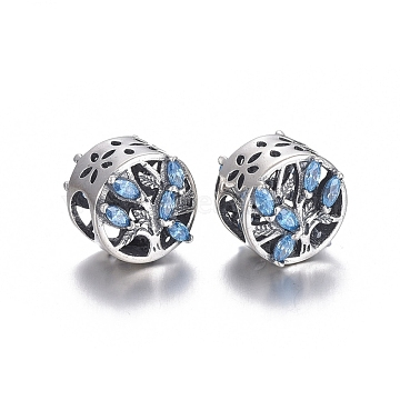 Hollow 925 Sterling Silver European Beads, Large Hole Beads, with Cubic Zirconia, Carved with 925, Flat Round with Tree, Thai Sterling Silver Plated, 10.5x9.5mm, Hole: 4.5mm(OPDL-L017-038TAS)