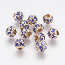 Perles en alliage, avec l'émail, rondelle, or clair, 8x7.5mm, Trou: 3mm(ENAM-G095-01KCG)