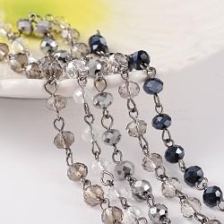chaînes de perles de verre à la main pour colliers bracelets faisant, avec épingle à oeil en laiton de ton bronze, non soudée, coloré, 39.3; à propos de 1 m / brin; 5 brins / set(AJEW-JB00173)