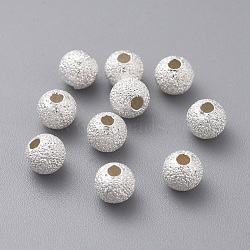 Round 925 Sterling Silver Textured Beads, Silver, 4mm, Hole: 1.2mm(X-STER-F012-23B)