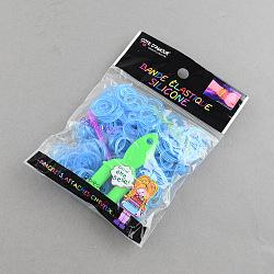 Bricolage fluorescentes bandes de métiers à tisser en caoutchouc néon recharges avec des bandes et accessoires, Bleu ciel, 110x90x13mm(X-DIY-R010-05)