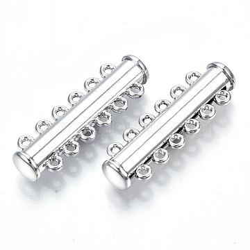6-Strands Brass Slide Lock Clasps, 12-Hole, Magnetic, Tube, Platinum, 33.5x10.5x6.5mm, Hole: 1.4mm(KK-Q740-19P)