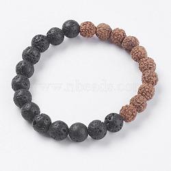"""Bracelets extensibles en perles de lave et de rudraksha naturelles, 2"""" (51 mm)(BJEW-I241-01)"""