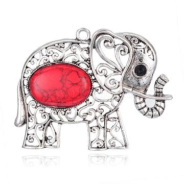 Antique Silver Red Elephant Synthetic Turquoise Big Pendants
