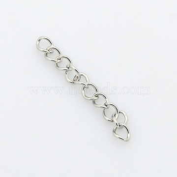 304 Stainless Steel Twisted Chains, Soldered, Stainless Steel Color, 5x3.5x0.6mm(X-CHS-A003K-0.6mm)
